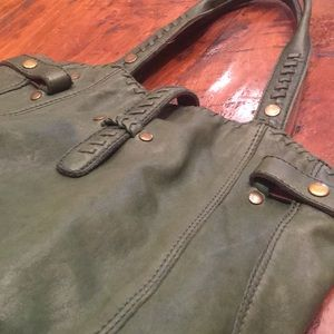 Lucky Brand Italian Green Leather Tote Bag